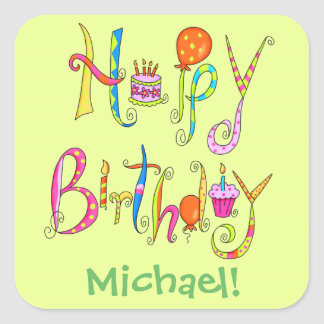 Happy Birthday Word Art Green Name Personalized Square Stickers