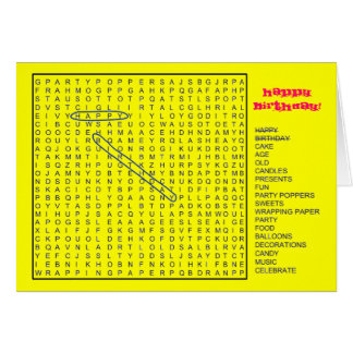 HAPPY BIRTHDAY Word Search Greeting Card