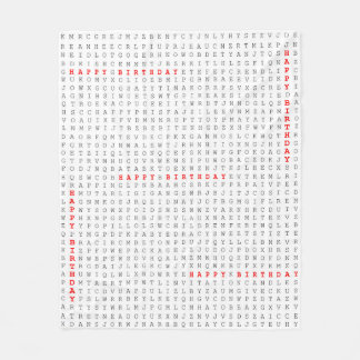 Happy Birthday Word Search Puzzle Fleece Blanket