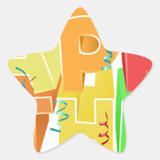 Happy Birthday Word Text Sign Star Sticker