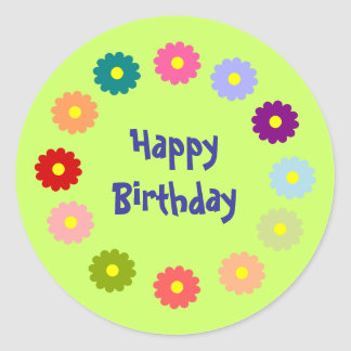 Happy Birthday wreath of flowers sticker