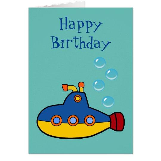 Happy Birthday - Yellow and Blue Toy Submarine