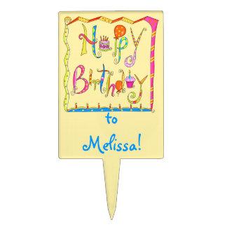 Happy Birthday Yellow Cake Pick Personalized