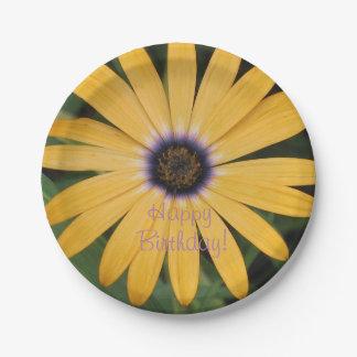 Happy Birthday Yellow Daisy Paper Plate