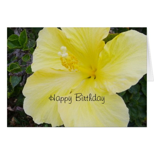 Happy Birthday - Yellow Hibiscus Card