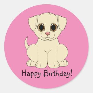 Happy Birthday Yellow Lab Puppy Round Sticker
