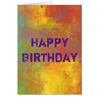 Happy Birthday Yellow Orange Green Rustic Abstract Greeting Card
