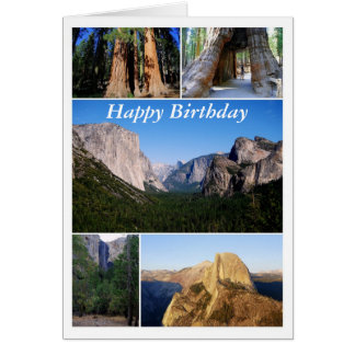 Happy Birthday, Yosemite National Park Collage Greeting Card