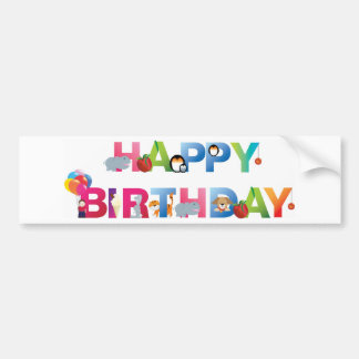 happy birthday young child style bumper sticker
