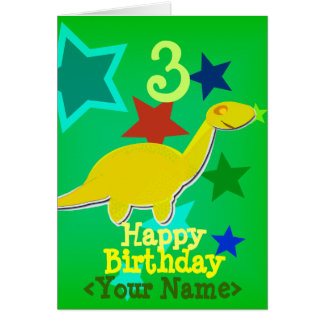 Happy Birthday Your Name Dinosaur Card