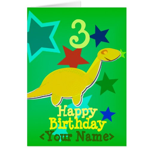 Happy Birthday Your Name Dinosaur Card