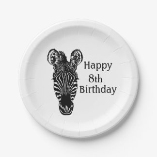 Happy Birthday Zebra w Age Paper Plate