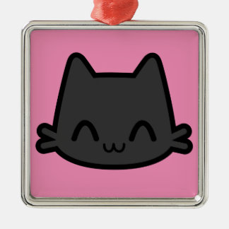 Happy Black Cat Face on Pink Ornaments