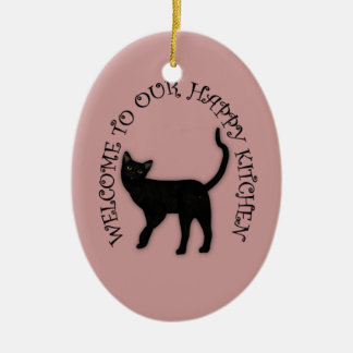 Happy Black Cat Hanging Kitchen Ornament