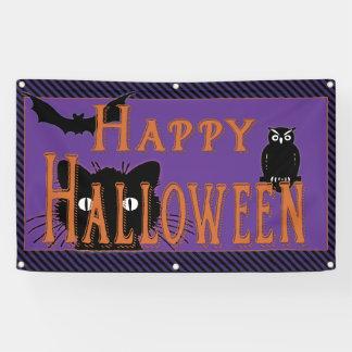 Happy Black Cat, Owl and Bat Halloween Banner