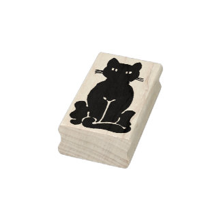 Happy Black Cat Rubber Stamp
