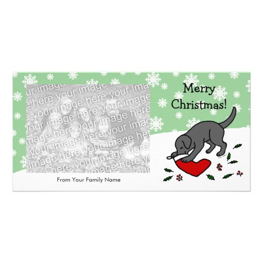 Happy Black Lab Christmas Cartoon Snowflakes Personalized Photo Card