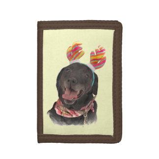 Happy Black Labrador Retriever Dog Trifold Wallets