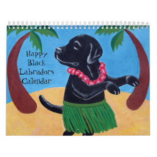Happy Black Labradors Calendar 2018 B