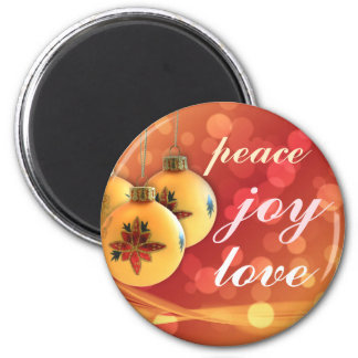 Happy Blessings of Peace Joy Love Gold Red 6 Cm Round Magnet