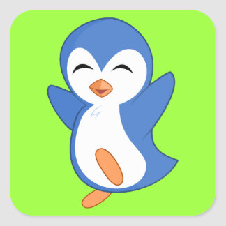 Happy Blue and White Penguin on Green Square Sticker