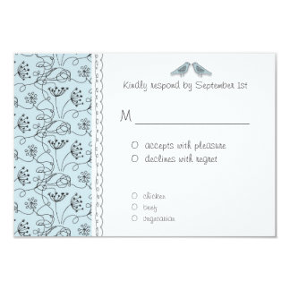 Happy Blue Birds RSVP Response Affordable 9 Cm X 13 Cm Invitation Card