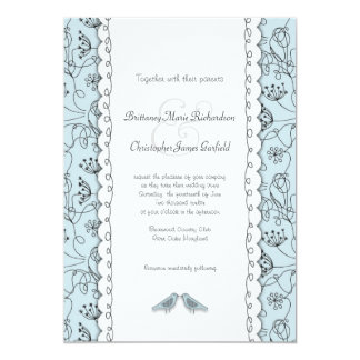 Happy Blue Birds Wedding Doodle Trendy Budget Card