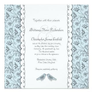 Happy Blue Birds Wedding Doodle Trendy Square 13 Cm X 13 Cm Square Invitation Card