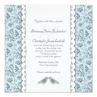 Happy Blue Birds Wedding Doodle Trendy Square Card