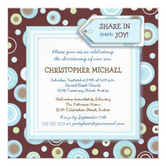 Happy Blue Dots Baby Boy Christening Invitation