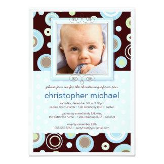 Happy Blue Dots Baby Photo Christening Invitation