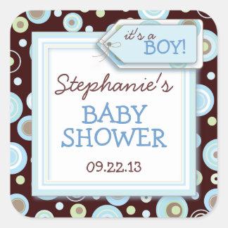 Happy Blue Dots Boy Baby Favor Envelope Sticker