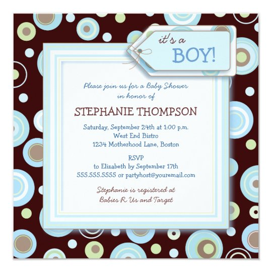 Happy Blue Dots Boy Baby Shower Invitation