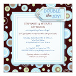 Happy Blue Dots Twin Boy Couples Baby Shower 13 Cm X 13 Cm Square Invitation Card
