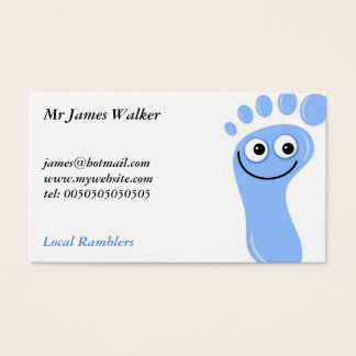 Happy Blue Feet, Mr James Walker, Business Card