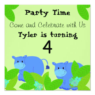Happy Blue Hippos Birthday Party Card