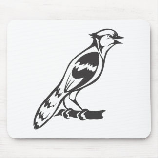 Happy Blue Jay Bird in Black and White Mousepads