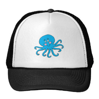 happy blue octopus cap