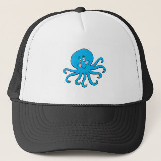 happy blue octopus trucker hat