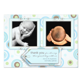 Happy Blue Polka Dot Thank You Photo Card Personalized Announcement