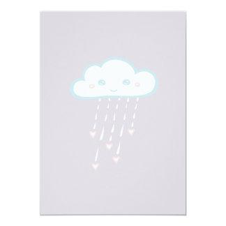Happy Blue Rain Cloud Raining Pink Hearts 13 Cm X 18 Cm Invitation Card