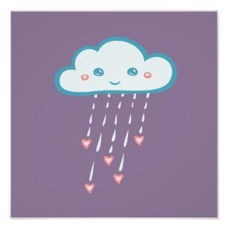 Happy Blue Rain Cloud Raining Pink Hearts Photograph