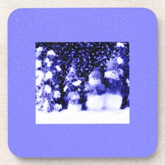 Happy Blue Snowman Family in Winter Snow Coaster