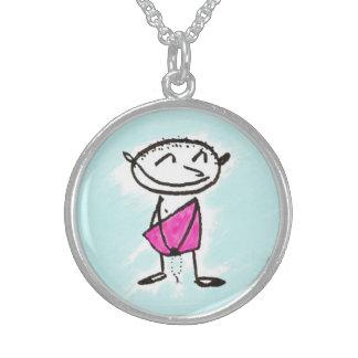 happy bodhisattva round pendant necklace