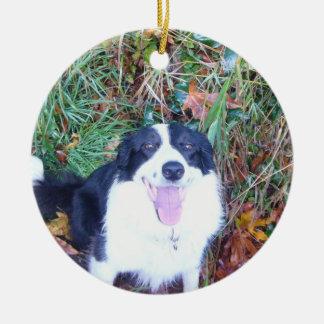 Happy Border Collie Christmas Ornament