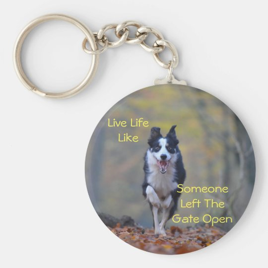 Happy Border Collie dog running and playing Basic Round Button Key Ring