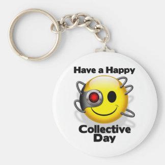 happy borg day basic round button key ring