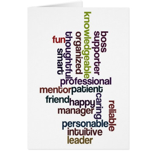Happy Boss Boss's Day Colourful Word Art Greeting Card