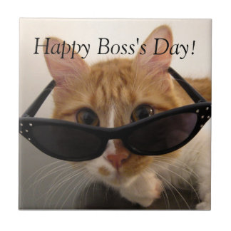Happy Boss's Day - Cool Cat with Sunglasses Tile