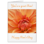 Happy Boss's Day for female boss with flower Greeting Card